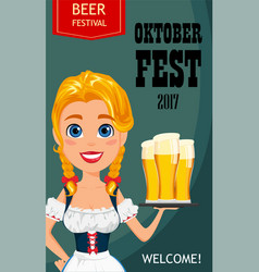 Oktoberfest with sexy redhead girl holding three vector
