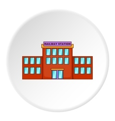 Railway station building icon cartoon style vector