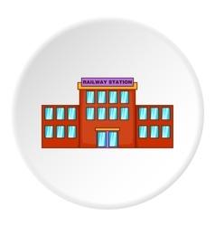 Railway station building icon cartoon style vector image