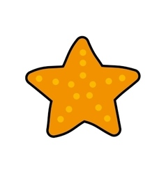 Sea star life cartoon orange icon graphic vector