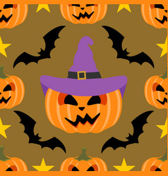 seamless halloween background with pumpkin vector image
