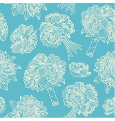 Seamless pattern made of peony bouquets vector