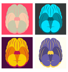 set of brain in flat monochrome color on white vector image