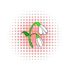 Snowdrop flower icon comics style vector