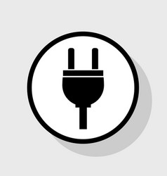 Socket sign flat black icon vector