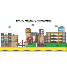 spain malaga andalusia city skyline vector image vector image