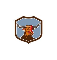 Texas longhorn red bull shield retro vector