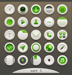 White-green round icons - set 1 vector