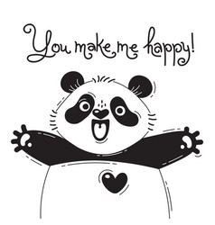 With joyful panda who says - you make vector