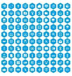 100 cyber security icons set blue vector