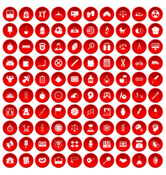 100 libra icons set red vector