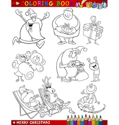 Cartoon christmas themes for coloring vector