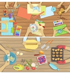 Children craft and cooking class two vector