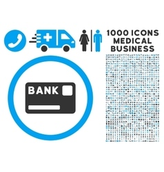 Bank card icon with 1000 medical business symbols vector