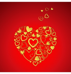 Red valentines day card with gold hearts vector