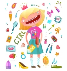 Girlish clip art collection with teenager girl and vector