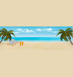 Beach with palm trees and beach chair summer vector