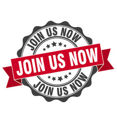 Join us now stamp sign seal vector
