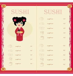 Sweet asian girl enjoy sushi - menu card vector