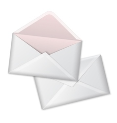 Blank white realistic envelopes opened and vector