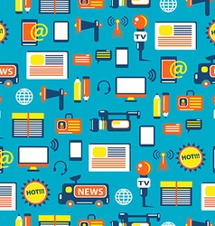 Seamless pattern with journalist equipment vector