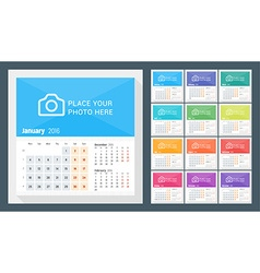 Desk calendar for 2016 year week starts monday 3 vector