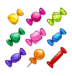 Funny cartoon colorful candies set vector