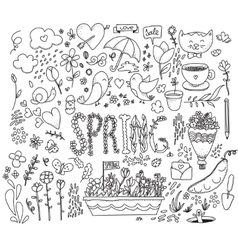 Spring graphics set hand drawn vector
