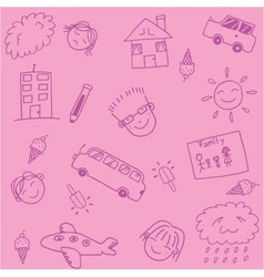 Pink school kids doodle art vector