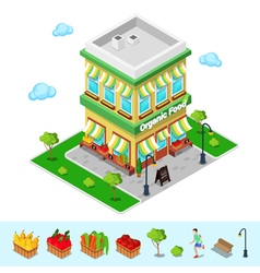 Organic food shop isometric grocery healthy eating vector
