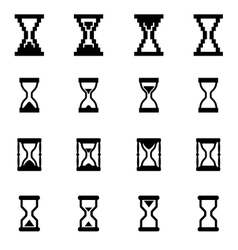 black hourglass icon set vector image