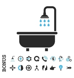 Shower bath flat icon with bonus vector