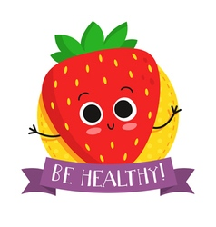 Strawberry cute fruit character badge vector