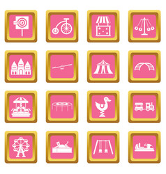 amusement park icons pink vector image vector image