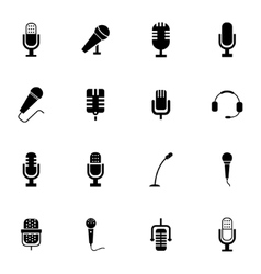 black microphone icons set vector image vector image