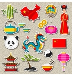 China icons set Chinese sticker symbols and vector image vector image