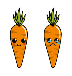 Color kawaii happy and cry carrots icon vector
