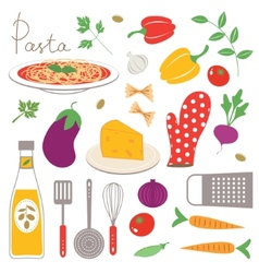 Colorful kitchen collection vector image vector image
