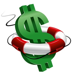 Dollar sign in lifebuoy vector
