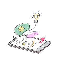 Doodle apps symbols in smartphone vector