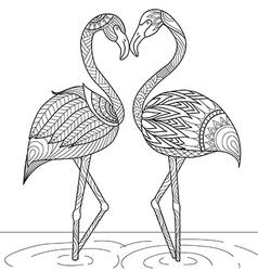 flamingo coloring vector image vector image