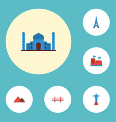 flat icons paris india mosque great pyramid and vector image vector image