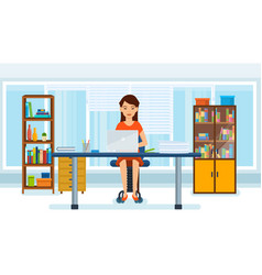 Girl working at computer in the office vector