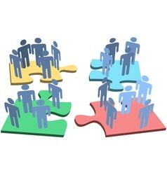 human group people organization puzzle pieces solu vector image vector image