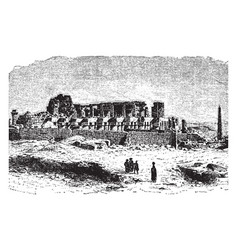 karnak temple complex vintage engraving vector image vector image