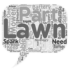 Lawn mower spare parts text background wordcloud vector