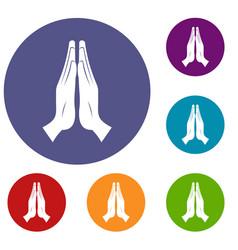Prayer icons set vector