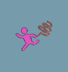 Rhythmic gymnastics with ribbon design in vector