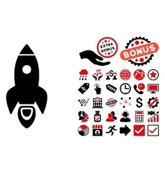 Rocket Flat Icon with Bonus vector image