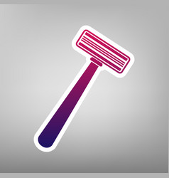 Safety razor sign purple gradient icon on vector